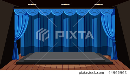 An empty stage with blue curtain 44966968