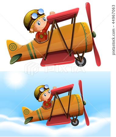 Set of pilot riding classic plane 44967063