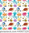 Fun seamless pattern of marine life 44967326