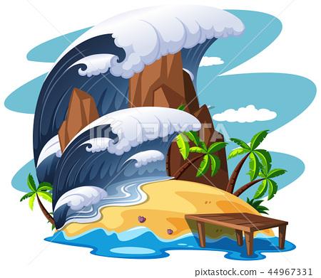 Tsunami on island scene 44967331