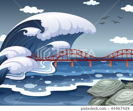 A tsunami hit the ocean bridge 44967489