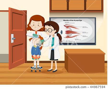 Doctor cleaning girl eye 44967594