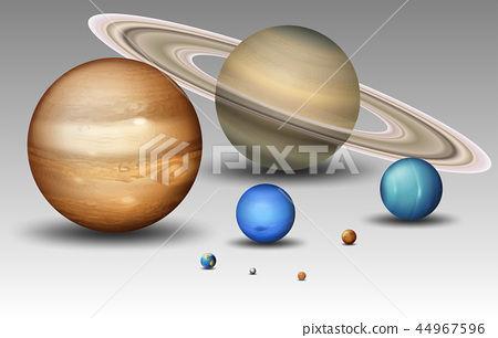 Set of solar system planet 44967596