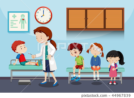 A doctor helping kids 44967839