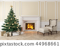 Classic beige interior with christmas tree, fireplace, lounge armchair 44968661