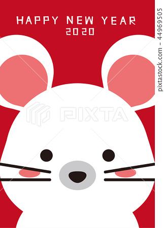 2020年兒童鼠年新年賀卡紅了 44969505