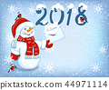 Christmas card with Snowman in Santa cap 44971114