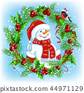 Christmas card with Snowman in Santa hat 44971129