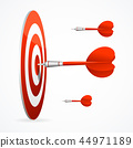Realistic Detailed 3d Red Dartboard with Darts. Vector 44971189