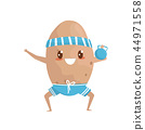 Funny potato doing squat exercises with weight, sportive vegetable cartoon character doing fitness 44971558