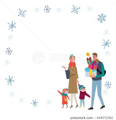冬天家庭例證框架 44971592