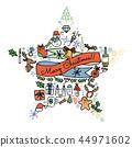被设置的圣诞节手拉的象 44971602
