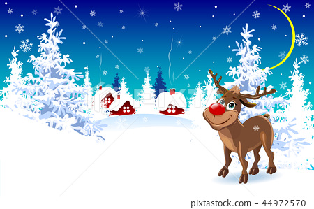 Reindeer on a winter background, greeting card 44972570