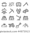 Mining industry. Outline icons.  44973913