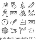 Vector Happy New Year line icons set. 44973915