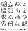 Vector Nautical, marine and sea thin line icons 44973917