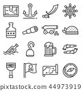 Vector line pirates icons set on white background 44973919
