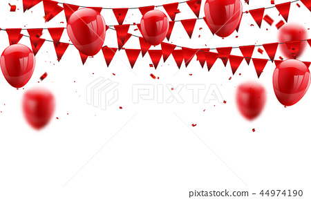 Red balloons, confetti concept. Celebration Vector 44974190