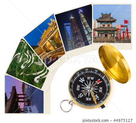 China images (my photos) and compass - travel 44975127