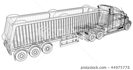 Tipper lorry on transparent background, logistics transportation and cargo freight transport