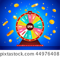 Wheel of Fortune with gold 3d coins, lottery and luck. 44976408