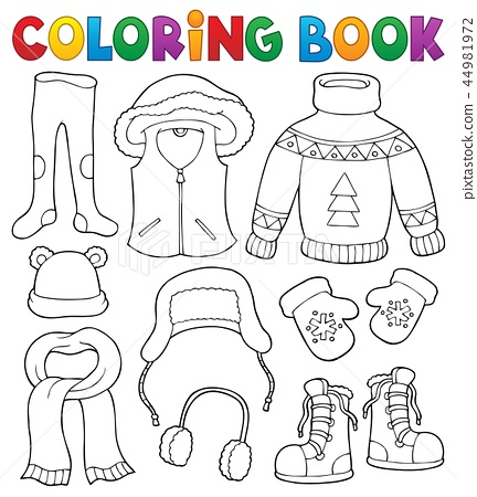 5ffc63a1bc24 Coloring book winter clothes topic set 2 - Stock Illustration ...