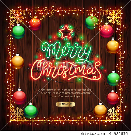 Merry Christmas Neon Sign with Colorful Lights on Wood 44983656