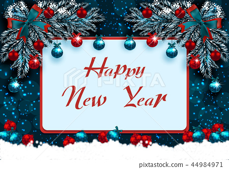 Happy New Year Greeting Card With Decorations Stock Illustration 44984971 Pixta