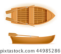 wooden boat top and side view vector illustration 44985286
