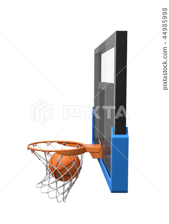 3d rendering of a basketball ball falling inside a basket attached to a transparent backboard. 44985998