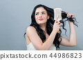 woman, hair, brushing 44986823