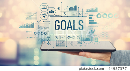 Goals with tablet computer  44987377