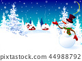 Snowman on a winter background, greeting card 44988792