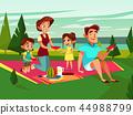 cartoon caucasian family at picnic party 44988799