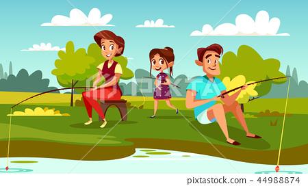 Family fishing cartoon illustration 44988874