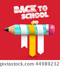 Back o School Title with Pencil On Red Background 44989232