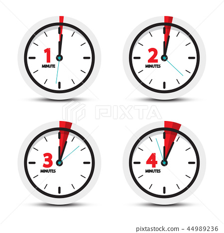 Clock. 1, 2, 3, 4 Minutes Time Icons. 44989236