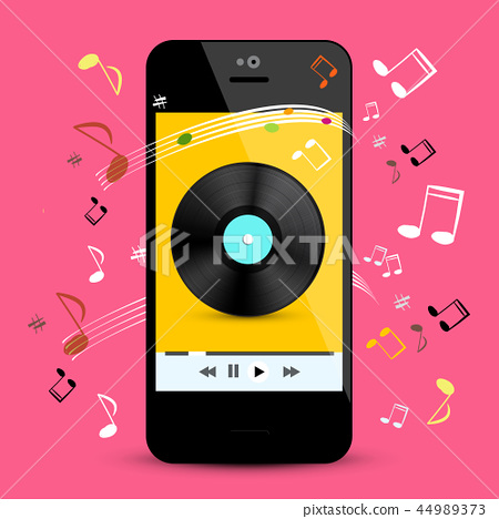 Music Player on Smartphone with LP Disc 44989373