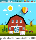 Farm with Barn, Cows, Tractor and Wind Mills 44989388