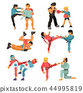Martial art vector people character fighter training karate sport exercise and strong man fighting 44995819