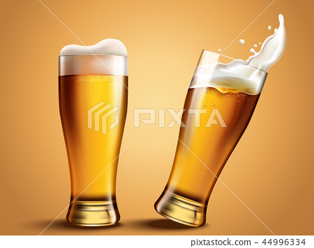 Glass beer cup with splashing beer 44996334