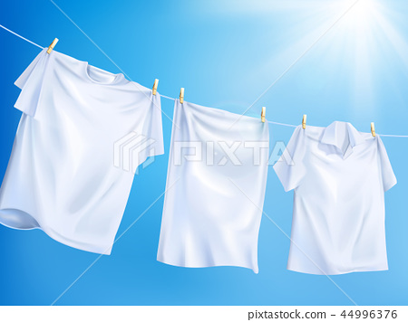 Bright white clothes hanging out 44996376