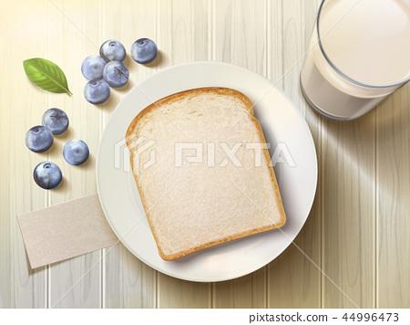 Top view of breakfast set 44996473