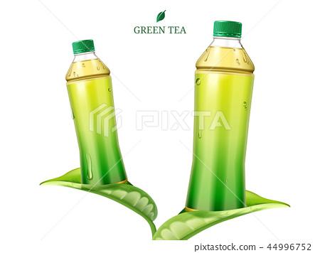 Green tea on leaves 44996752