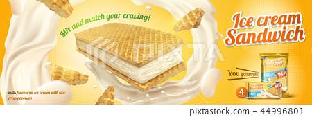 Milk flavoured ice cream sandwich 44996801