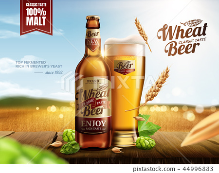 Attractive glass bottle wheat beer 44996883