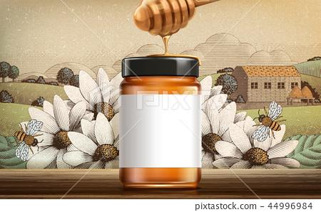 Retro style wildflower honey ads 44996984