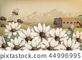 Engraved countryside scenery 44996995