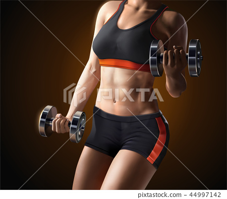 Fitness woman lifting weights 44997142
