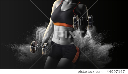 Fitness woman lifting weights 44997147